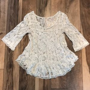 Free People Cream Lace Blouse